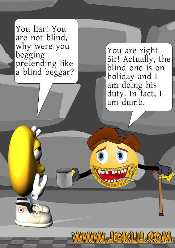 A blind beggar joke in English