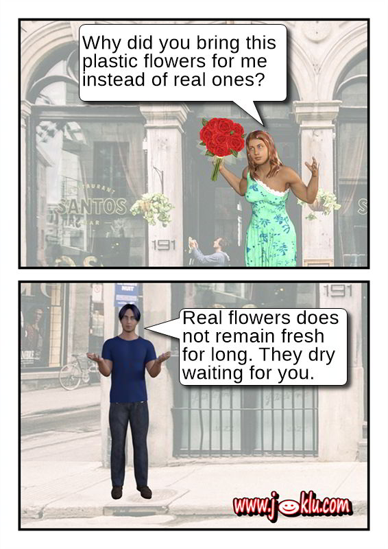 Artificial flowers joke in English