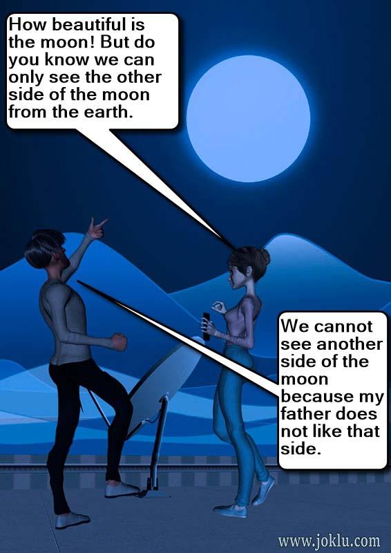 Beautiful moon incredible dad joke in English