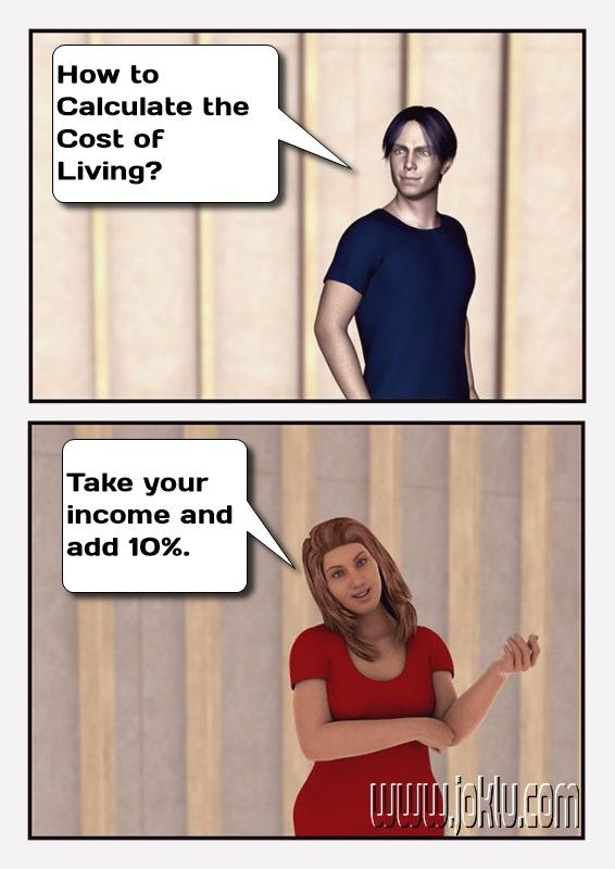 Cost of living joke in English