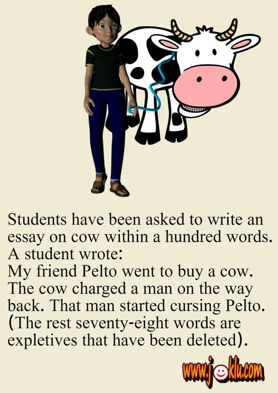 Cow essay short joke in English