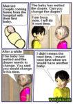 Diaper change joke in English