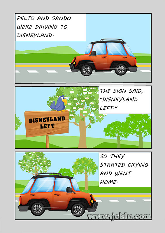 Driving to disneyland joke in English