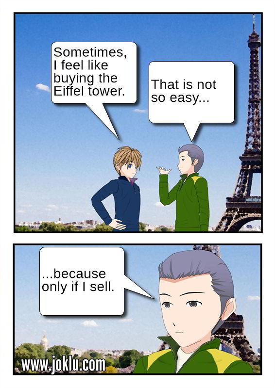 Eiffel tower purchase joke in English