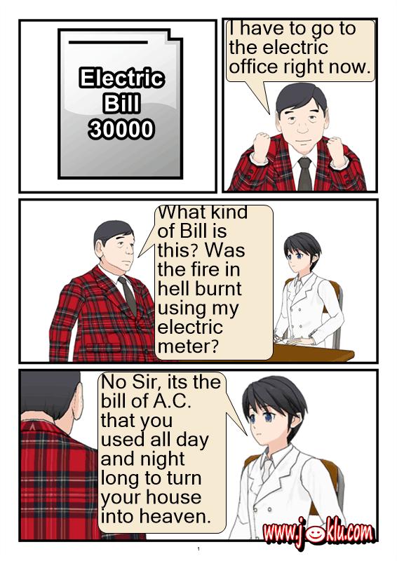 Electric bill joke in English