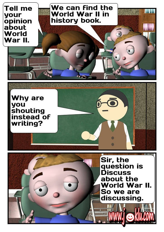 Examination hall joke in English