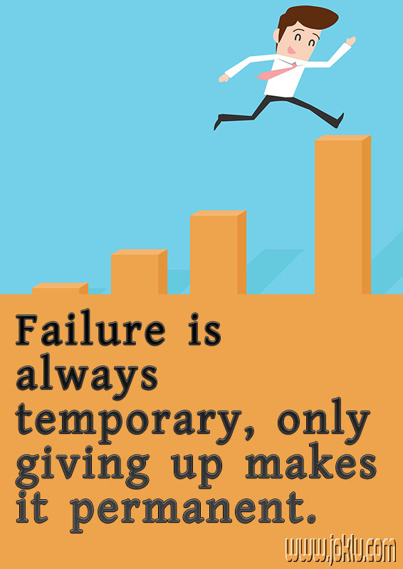 Failure is temporary inspirational quote in English