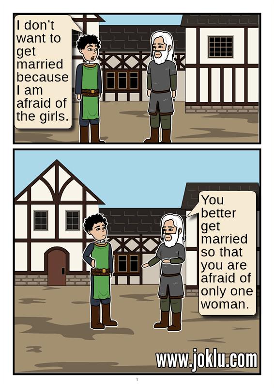 Fear of marriage joke in English