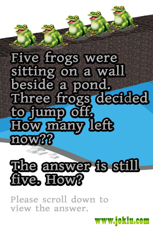 Five frogs riddle in English