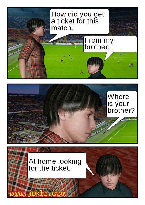 Football match ticket joke in English