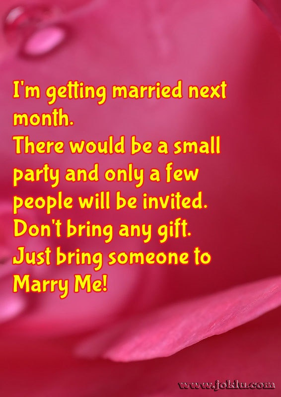 Getting married love message in English