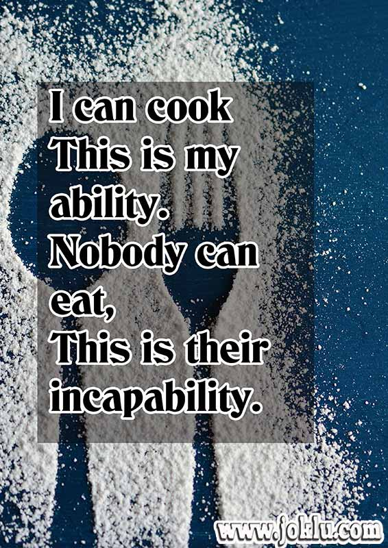 I can cook funny message in English