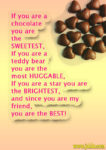 If you are chocolate friendship message in English
