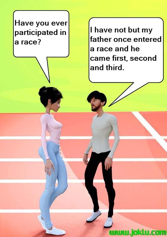 Incredible dad entered a race joke in English