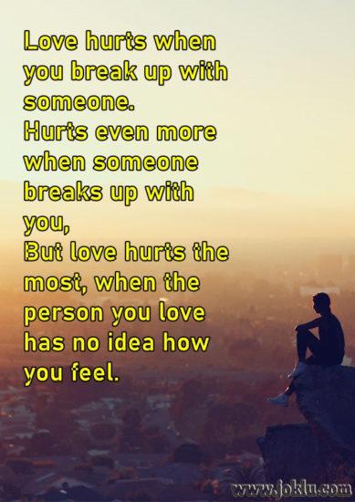 Love hurts when broken heart message in English