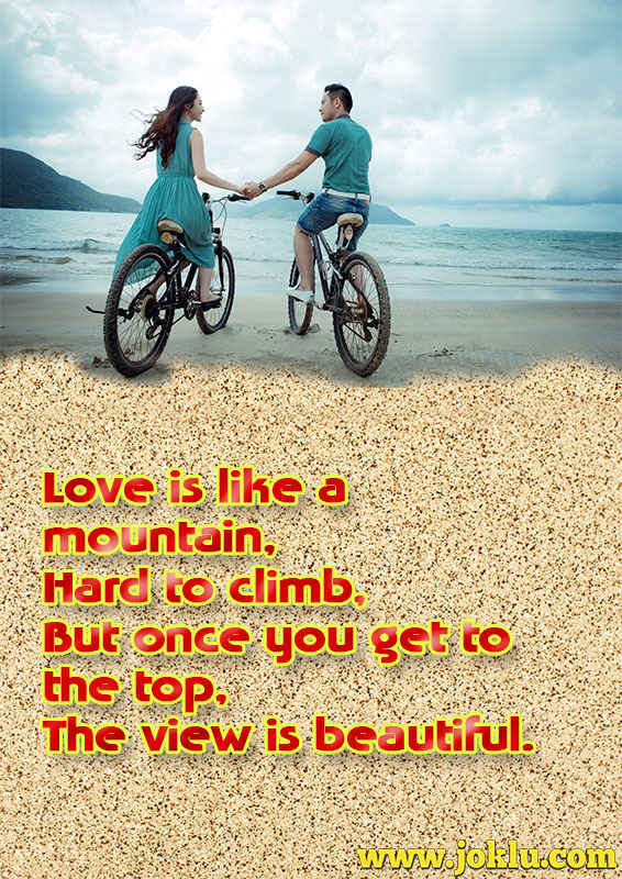 Love is like a mountain love message in English