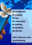 No toothbrush good morning message in English
