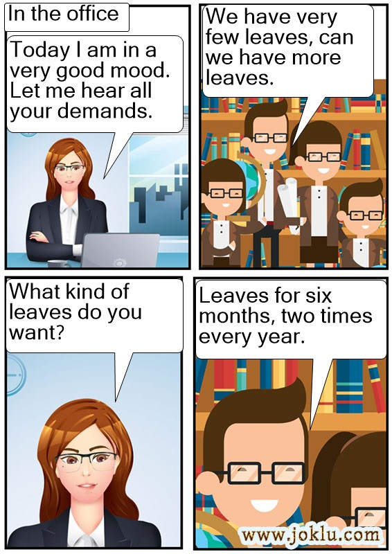 Office leave joke in English