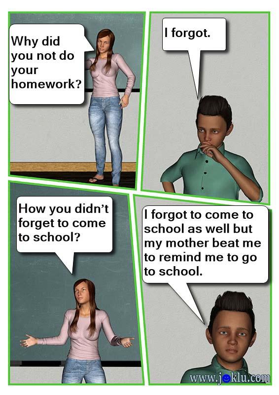 Sando forgot his homework joke in English