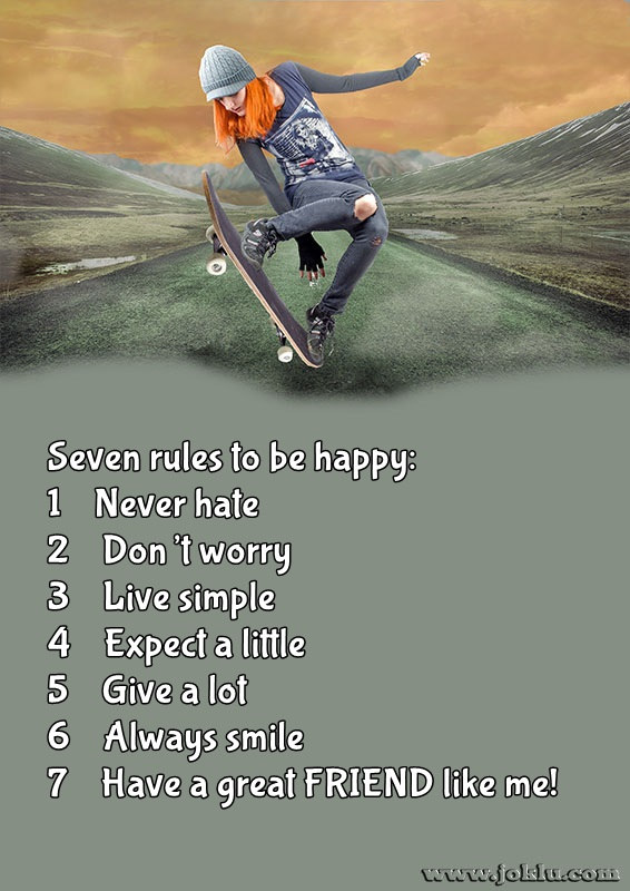 Seven rules to be happy friendship message in English