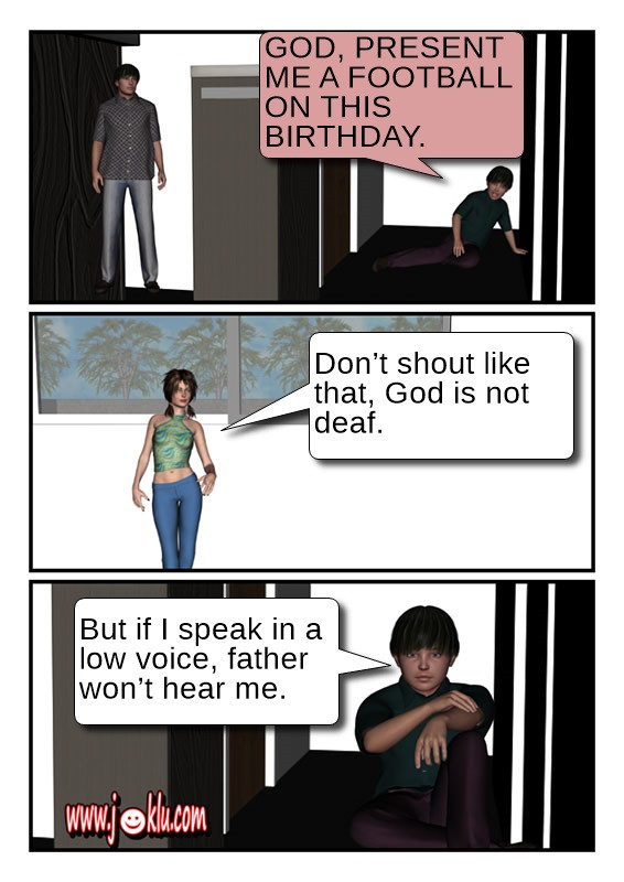 Shout prayer joke in English