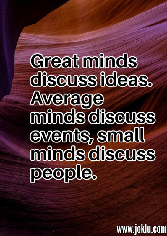 Small minds discuss inspirational quote in English