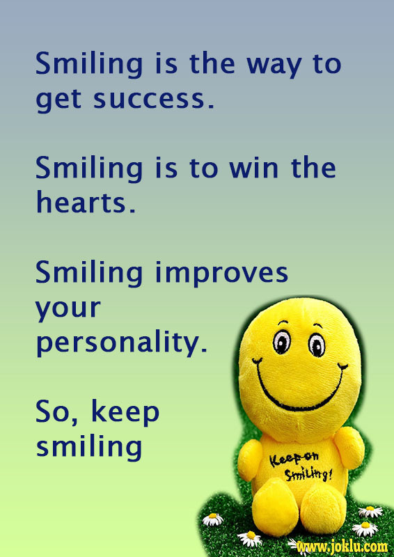 Smile is the way to get success message in English