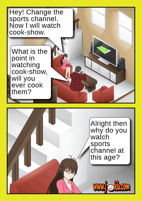 Sports channel joke in English