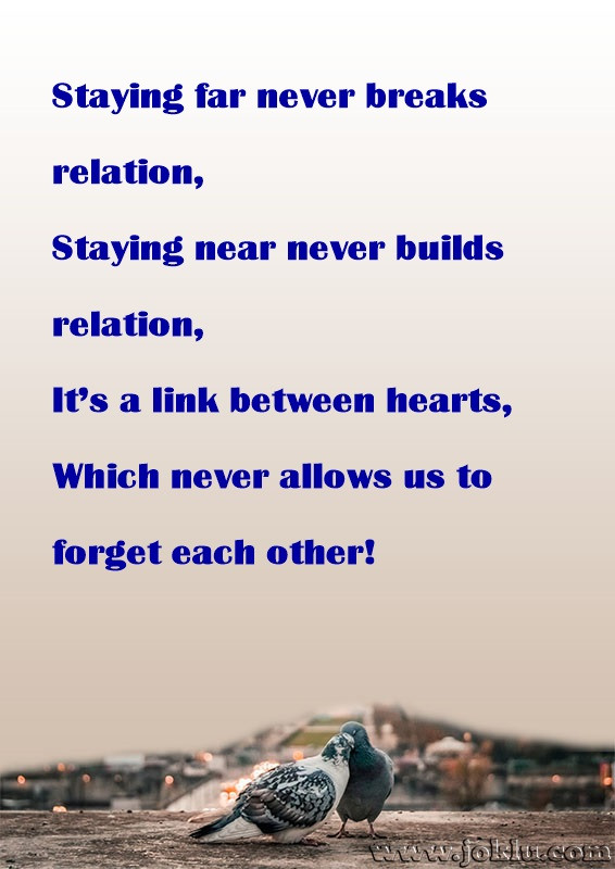 Staying far never breaks relation friendship message in English