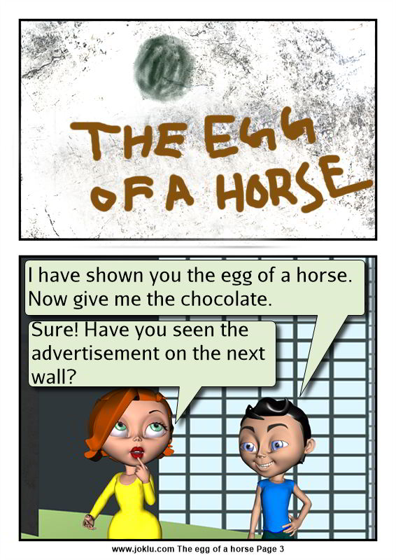 The egg of a horse funny comics in English Page 3