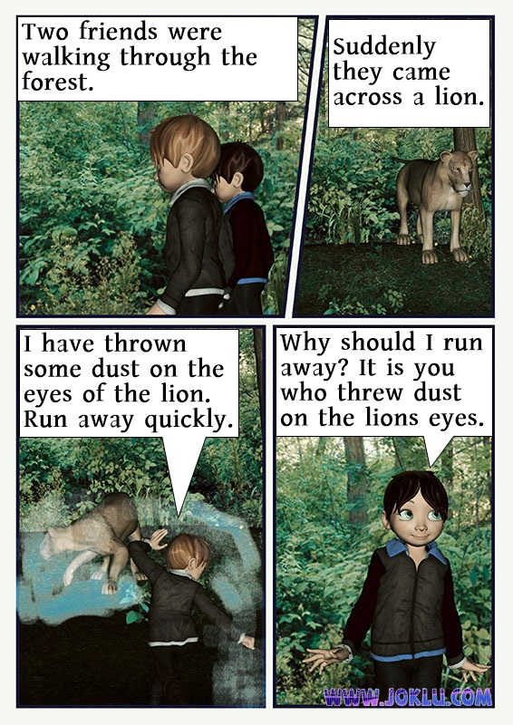 The lion attack joke in English