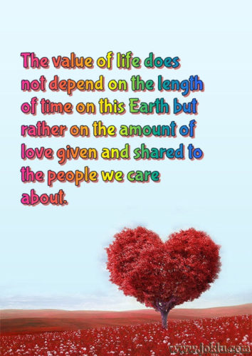 The value of life relationship message in English