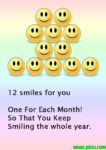 Twelve smiles for you message in English