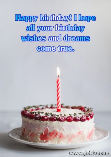 Wishes and dreams come true birthday message in English